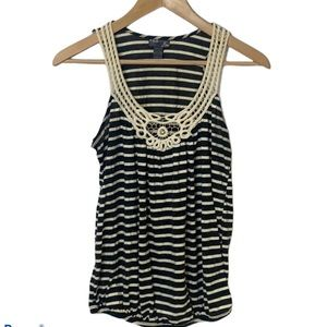 Poetry Black/White Striped Embellished Tank Top M